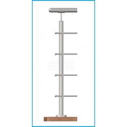 stĺpik 4-radový,priechodný - brúsená nerez